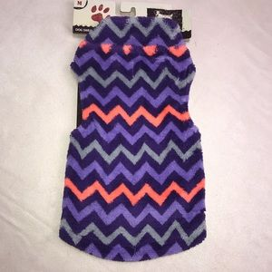 Dog Pet Sweater Jacket Purple Zig Zag Stripe Med